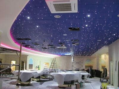 Ceiling tiles with fibre optics